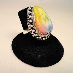Jewelry - Pastel Rainbow Solar Quartz Geode .925 Silver Ring